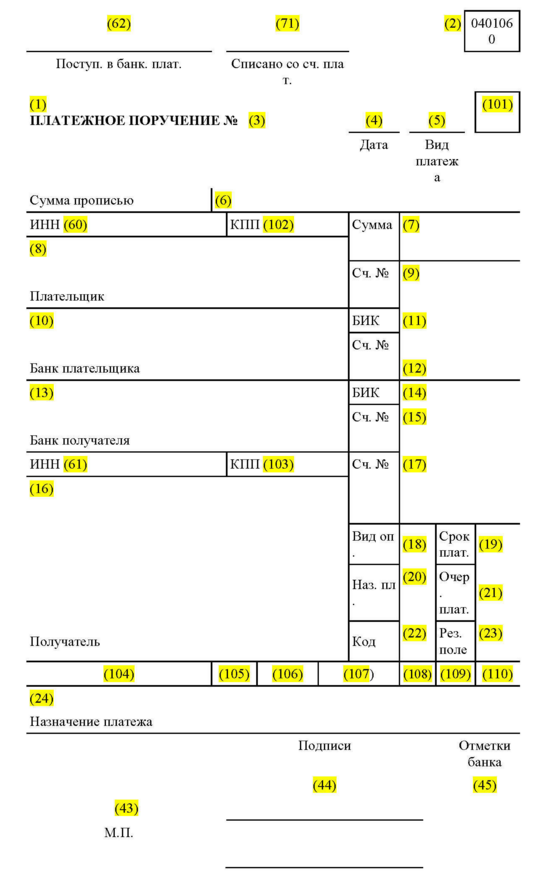 Образец платёжного поручения для оплаты штрафа ГИБДД